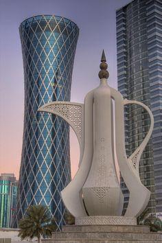 Doha, Qatar: Teapot Sculpture and Tornado Tower