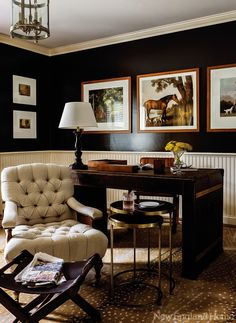 Always liked my office to have dark color walls and furniture, and I love the balance of paneling and beautiful chair