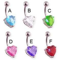 Belly button ring with heart shaped gem