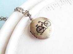 PRE ORDER  Bicycle Locket Necklace by linkeldesigns on Etsy, $24.00