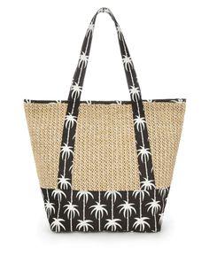 M Sac en paille à motif palmiers