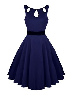 Hollow Out Vintage Dress in Purplish Blue | Sammydress.com