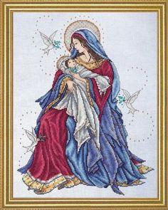 Virgen con su niño en punto de crus