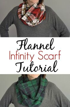 DIY Flannel Infinity Scarf Tutorial.   Great beginner sewing project!