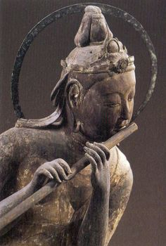 Bodhisattva on a cloud playing a Flute, carved wood, 1053 CE, The Byodo-in Temple, Japan Japanese Culture, Japanese Art, Dunhuang, Art Asiatique, Buddhist Art, Religion, Chinese Art, Asian Art, New Art