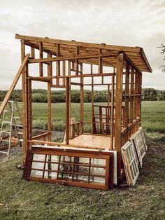 How I Built my Dream Greenhouse - Arrows & Twine Window Greenhouse, Backyard Greenhouse, Greenhouse Plans, Backyard Sheds, Backyard Landscaping, Farmhouse Garden, Farmhouse Greenhouses, Modern Farmhouse, Farmhouse Style