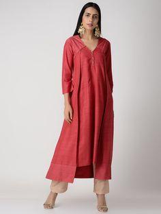 Red Pleated Matka Silk Kurta with Top Stitch