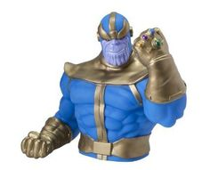 Marvel Bust Bank Thanos - This Thanos Bust Bank features the Marvel super-villain sporting a sly smirk and showing off his new Infinity Gauntlet.