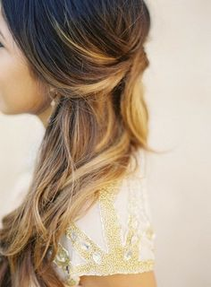 half-up do, brown brunette with ombre highlights, caramel honey