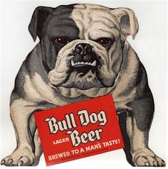 vintage, beer made just for the Bull Dog in your Life