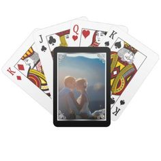 Elegant Silver Black Wedding Photo Frame Playing Cards - wedding gifts marriage love couples