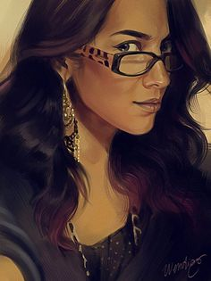 Artist: ElephantWendigo {figurative art beautiful female head eyeglasses woman face portrait digital painting} http://sirwendigo.deviantart.com
