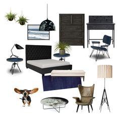 """Indigo Bedroom"" by silverlime2013 on Polyvore featuring interior, interiors, interior design, home, home decor, interior decorating, Calvin Klein, Diesel, Pulaski and Lene Bjerre"