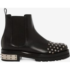 Alexander McQueen Mod Boot (£825) ❤ liked on Polyvore featuring shoes, boots, ankle booties, black, slip on boots, black studded booties, leather boots, mid heel booties and black booties