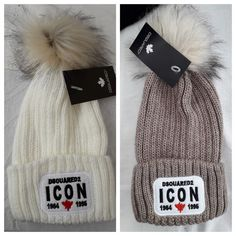 043b92e698d440 Dsquared2 ICON Logo Unisex Winter Wool Beanie Hat Pom Pom Fur White #fashion  #clothing #shoes #accessories #womensaccessories #hats (ebay link)