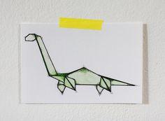 Dinosaur Origami 5x7 Print van fritzifranzen op Etsy, €7.00