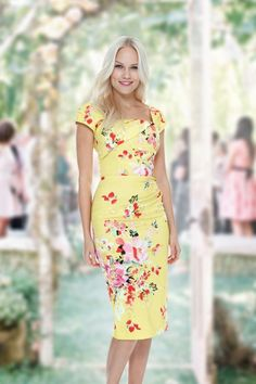 The Pretty Dress Company - 50s Cara Seville Dress in Lemon Floral Print