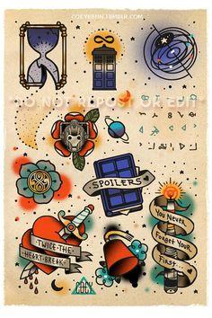 Flash Tattoos Doctor Who Tattoo Design Ideas. Fandom Tattoos, Nerdy Tattoos, Tattoos Skull, Tatoos, Movie Tattoos, Tardis Tattoo, Dr Who Tattoo, Doctor Who Tattoos, Doctor Who Drawings