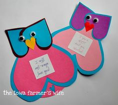 Owl be yours! I will owl-ways love you! Guess whooo loves you? I give a HOOT about you, Valentine! I love you owl-ways and forever Hoot, hoot! Owl be thinking of you! Valentine Crafts For Kids, Valentines Day Activities, Valentines Day Party, Be My Valentine, Holiday Crafts, Holiday Fun, Owl Crafts, Paper Crafts, Classroom Crafts