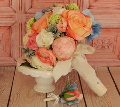 Peony and Rose Wedding Bouquet , orange, blue, pink, ivory, green @ www.etsy.com/shop/3Mimis