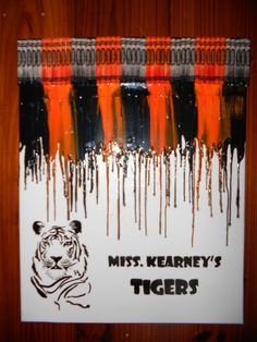 Teacher's Classroom Melted Crayon Painting by OnceUponACrayon, $35.00