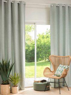 Tenda grigio-verde con occhielli, al pezzo, cm Modern Window Design, Green Eyelet Curtains, Grey Curtains, Modern Farmhouse Living Room, Green Curtains, Living Decor, Living Spaces, Window Styles, Grommet Curtains