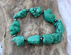 Rustic Green Turquoise Nuggets Stone Hematite by Cheshujewelry, $20.00