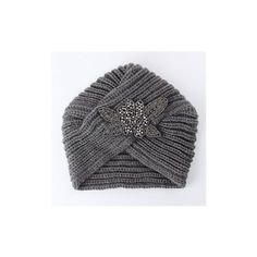 Turban Knit Crochet Handmade Headband Winter Warm  Beanie Hat Metal... ($8.41) ❤ liked on Polyvore featuring accessories, hats, grey, beanie hat, grey hat, gray hat, turban hat and beanie cap
