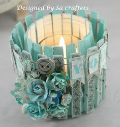 Craft idea, Altered tin can with clothes pins tutorial, candle, pencil or plant holder