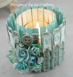 Grazioso porta candela Shabby realizzato con le mollette - Il blog italiano sullo Shabby Chic e non solo