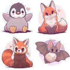 Süße Zeichentrick Tiere