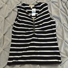 Michael Kors top NWT top. Black with white stripes. 95% cotton and 5% elastane MICHAEL Michael Kors Tops Tank Tops