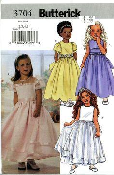 Butterick 3704 Girls Easter or Flower Girl Dress PATTERN sz 2 3 4 5 NEW #Butterick