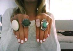 rings and light pink nails, so cute