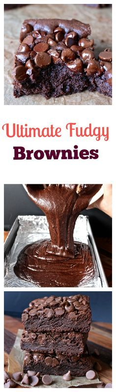 Ultimate Fudgy Brownies- made with 4 different types of chocolate. Rich, fudgy, decadent, and perfect with a glass of milk.