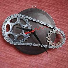 Old Bike piece turned into a clock! Recycled Art.