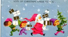 vintage card front... santa & his elves... lots of Christmas cheer for you