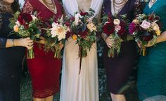 Lace jewel tone bridesmaid dresses, dahlias, wildflowers, and bronze hand-made necklaces from Women of Hope in Guatemala - Pattie & Andrew on Borrowed & Blue. Photo Credit: Fox & Owl Studio