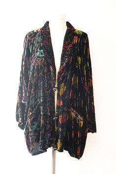 Vintage 90s mixed print Velvet Kimono style by recollectionla