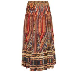 Camilla Chiapas Dance tiered midi skirt ($235) ❤ liked on Polyvore featuring skirts, long skirts, midi skirt, orange multi, patterned midi skirt, red skirt, ruched midi skirt, boho skirts and print midi skirt