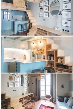 A fantastically spacious studio within the coronary heart of Paris' historic Marais distric. - Bed House A fantastically spacious studio within the coronary heart of Paris' historic Marais district. Small Loft Spaces, Small Loft Apartments, Small Apartment Design, Apartment Layout, Apartment Living, Apartment Ideas, Living Room, Tiny House Loft, Tiny House Plans