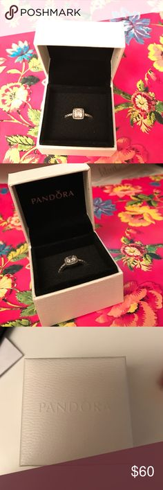 """Pandora Timeless Elegance, Clear CZ Ring """"Ring in sterling silver with 1 claw-set Danube-cut center stone, 34 bead-set cubic zirconia."""" Size 7. Never worn. Pandora Jewelry Rings"""