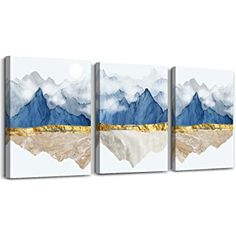 Wall Art for Living Room Bathroom Wall Decor Canvas Prints Artworks abstract Paintings Wall Decorations for Bedroom 3 Piece Modern Home Decor Sunrise and sunset blue mountain landscape Pictures Abstract Canvas Wall Art, Large Canvas Art, Abstract Watercolor, Wall Canvas, Canvas Prints, Abstract Paintings, Abstract Posters, Bathroom Artwork, Bathroom Wall Decor