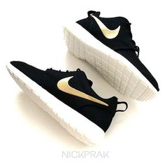 MADE TO ORDER Metallic Gold Swoosh Custom Nike Roshe One Black