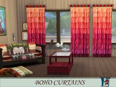 Best Daily Sims 4: Boho style curtains by Evi