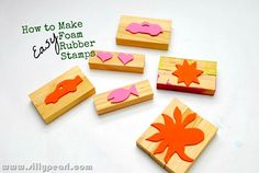 How to make easy foam rubber stamps, @Ariana Hall, maybe use for b-day gifts for the kids downstairs?