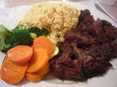 Steak tips with rice pilaf and fresh vegetables from Guido's Italian-American Restaurant, Walpole MA