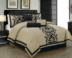 11 Piece King Dawson Black and Taupe Bed in a Bag Set by KingLinen, http://www.amazon.com/dp/B008ZHUSS4/ref=cm_sw_r_pi_dp_gBItqb123DZBC