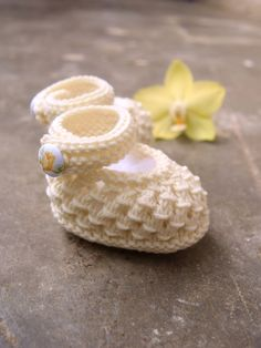 Off white baby booties christening booties soft by TinyOrchids