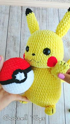 """Two amigurumi toys patterns set: Crochet Pikachu pattern and Crochet Pokeball pattern. Pikachu - the most popular of all Pokemon. And about him there is a film """"Detective Pikachu"""" Amigurumi Pikachu will be the best gift for Pokemon fans. It is very soft Pokemon Crochet Pattern, Pikachu Crochet, Crochet Patterns Amigurumi, Crochet Dolls, Amigurumi Toys, Pikachu Pokeball, Pokemon Plush, Crochet Gifts, Stuffed Toys Patterns"""